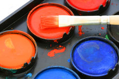 Used water color paint box Stock Images