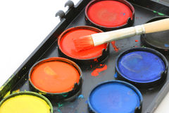 Used water color paint box Royalty Free Stock Photo