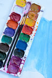 Used watercolor paint box Stock Photo