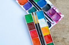 Used watercolor paint box Stock Images