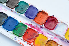 Used watercolor paint box Royalty Free Stock Image