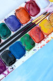 Used watercolor paintbox Stock Photos