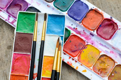 Used watercolor paintbox Stock Image