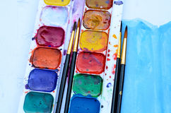 Used watercolor paintbox Royalty Free Stock Photos