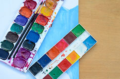 Used watercolor paintbox Royalty Free Stock Images
