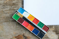 Used watercolor paintbox Royalty Free Stock Photography