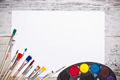 Used watercolor paints set Royalty Free Stock Photography