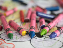 Used Wax crayons with painting Macro closeup Stock Photography