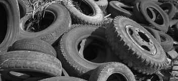Used wheels. Old and used  Automobile Wheels Royalty Free Stock Photos