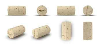 Used Wine Cork renders set from different angles on a white. 3D illustration. Used Wine Cork renders set from different angles on a white background. 3D Stock Photo