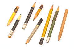 Used wooden pencils Royalty Free Stock Images