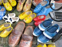 Used wooden shoes Stock Images