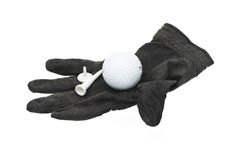 Used and worn piece of black golf glove Stock Images