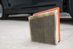 Used yellow paper air filter cars Stock Photography