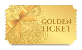 Gold ticket, golden token with bow ribbon tear-off ticket, coupon isolated on white background Royalty Free Stock Photo
