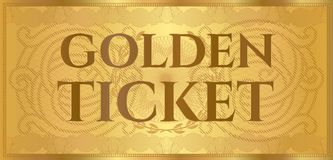 Gold ticket, golden token coupon isolated on white background Stock Photo