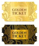 Gold ticket, golden token tear-off ticket, coupon isolated on white background. Useful for any festival, party, cinema, event, entertainment show Royalty Free Stock Photo