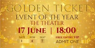 Golden ticket template, Concert ticket ticket mockup on gold starry glitter background royalty free illustration