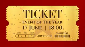 Admission golden ticket template. Vector mockup movie ticket tear-off with star gold background vector illustration