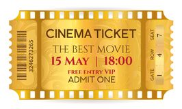 Cinema Ticket Golden Ticket token template tear-off ticket film strip isolated on white background. Useful for any film festival, party, cinema, event Stock Images