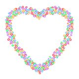 Heart shape pattern formed by colorful circles in various sizes, isolated on white transparent background. Vector illustration. Useful as greeting card stock illustration