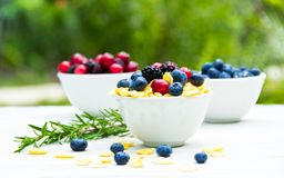 A useful breakfast with fresh berries. Corn flakes and ripe berries. Royalty Free Stock Photography