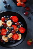 Useful breakfast of fruits and berries, top view Stock Photo