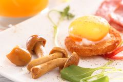 Useful breakfast with mushrooms, poached eggs, herbs and juice. Clouseup. Low morning light Stock Photos