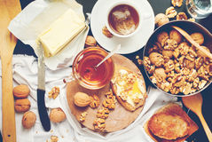 Useful Breakfast Tea Toast Honey Walnuts Effect Instagram Top View Stock Photo