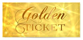 Golden ticket, Gold ticket tear-off vector template design with star golden background royalty free illustration