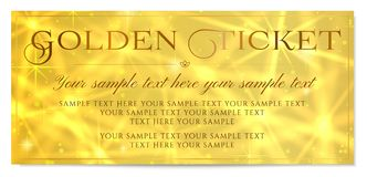 Golden ticket, Gold ticket tear-off vector template design with star golden background Royalty Free Stock Images