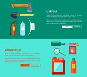 Useful and Dangerous Fire-Related Objects Posters. Useful and dangerous fire-related objects set of posters. Vector illustration of hatchet, shovel extinguisher Royalty Free Stock Photography