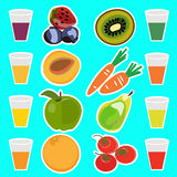 Useful delicious fresh fruit juices Royalty Free Stock Images