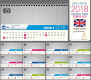 Useful desk triangle calendar 2018 template, ready for printing. Size: 22 cm x 12 cm. Format horizontal. English version Stock Images