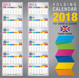 Useful foldable calendar 2018, colorful template. Open size: 90mm x 320mm. Close size: 90mm x 55mm. File contains cutting & folding guides. English version Stock Image