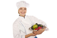 Useful food. Cook with the pan of  meal Stock Image