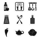 Useful food eatery icons set, simple style. Useful food eatery icons set. Simple set of 9 useful food eatery vector icons for web isolated on white background Stock Photography