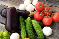 Useful fresh vegetables and mushrooms from the garden Royalty Free Stock Photo