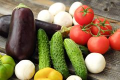 Useful fresh vegetables and mushrooms from the garden Stock Image