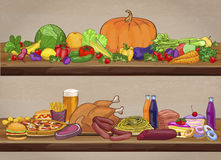 Useful and harmful food on wooden shelves. Vector illustration Stock Image