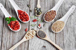 Useful, healthy food. Set the seeds for a healthy diet. Stock Photo