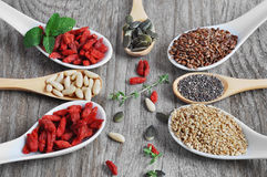 Useful, healthy food. Set the seeds for a healthy diet. Grains Chia. Flax seeds. Pumpkin seeds. Sesame seeds. Pine nut. Goji berries royalty free stock photos