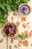A useful and healthy granola mint mousse and jam Royalty Free Stock Image