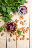 A useful and healthy granola mint mousse and jam Royalty Free Stock Images