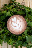 A useful and healthy mint cocoa in fragrant mint twigs Royalty Free Stock Images