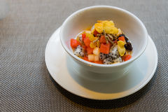 Useful homemade fruits salad, bowl of cereal and healthy breakfa Stock Image