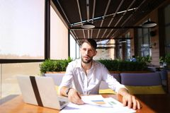 Useful manager enjoying cool result and working with laptop at t Royalty Free Stock Photos