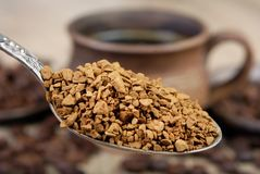 Useful natural aromatic instantly instant coffee close-up. Useful natural aromatic instantly instant coffee royalty free stock images