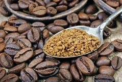 Useful natural aromatic instantly instant coffee close-up. Useful natural aromatic instantly instant coffee royalty free stock photo