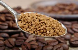 Useful natural aromatic instantly instant coffee close-up. Useful natural aromatic instantly instant coffee stock photos